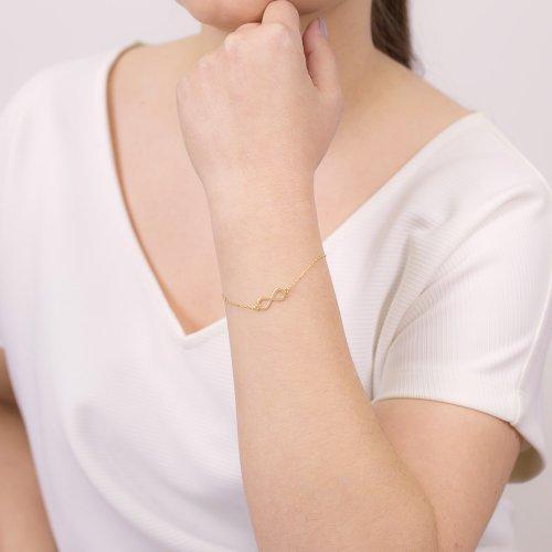 pozłacana bransoletka damska ze znakiem nieskończoności